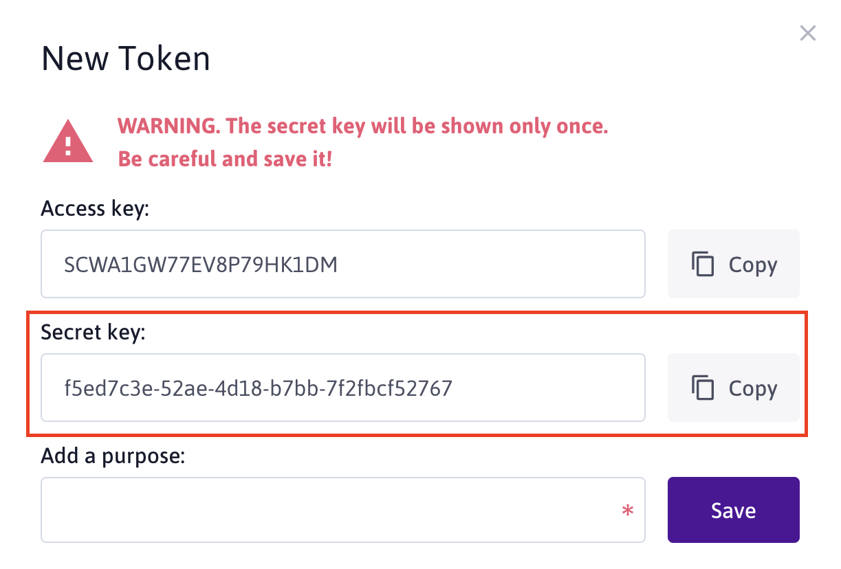 token secret key